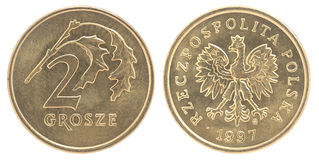 Pièce de monnaie polonaise de groszy Photos libres de droits
