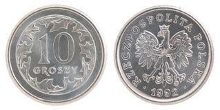 pièce de monnaie polonaise de 10 groszy Photographie stock libre de droits