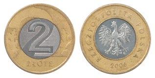 Pièce de monnaie polonaise de zloty Images stock