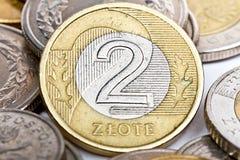Pièce de monnaie polonaise du zloty deux Photographie stock