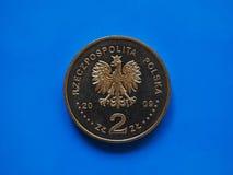 Pièce de monnaie polonaise du Zloty deux, Pologne Images stock
