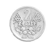 Pièce de monnaie polonaise sur un fond blanc Photographie stock libre de droits