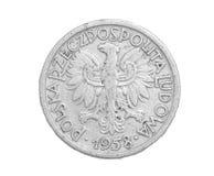 Pièce de monnaie polonaise sur un fond blanc Image libre de droits