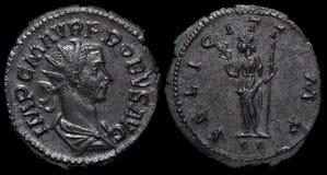 Pièce de monnaie romaine antique. Photographie stock