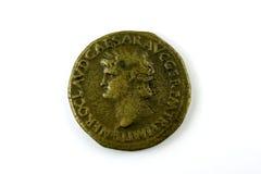 Pièce de monnaie romaine de Nero Image stock