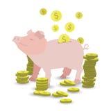 Pièce de monnaie rose d'argent de porc avec une pile des pièces d'or illustration de vecteur