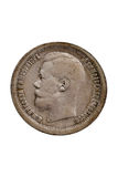 Pièce de monnaie russe argentée antique Photo libre de droits