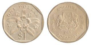 Pièce de monnaie singapourienne du dollar Photographie stock