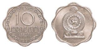 Pièce de monnaie sri-lankaise de 10 cents de roupie Images libres de droits
