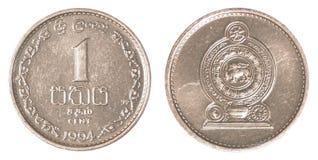 1 pièce de monnaie sri-lankaise de cents de roupie Images libres de droits