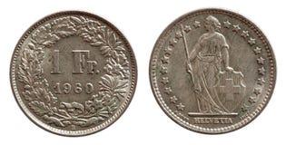 Pièce de monnaie suisse 1 de la Suisse un argent du franc 1968 d'isolement sur le fond blanc images stock