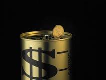 Pièce de monnaie sur la tirelire Image libre de droits