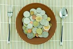 Pièce de monnaie sur le dishware Image stock