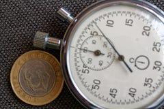 Pièce de monnaie turque avec une dénomination d'une Lire (arrière) et de chronomètre sur le contexte brun de jeans - fond d'affai Image libre de droits