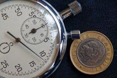 Pièce de monnaie turque avec une dénomination d'une Lire (arrière) et de chronomètre sur le contexte noir de denim - fond d'affai Images libres de droits