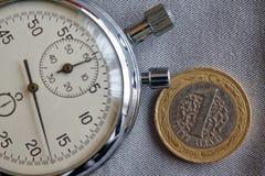 Pièce de monnaie turque avec une dénomination de 1 Lire et chronomètre sur le contexte gris de denim - fond d'affaires Image stock