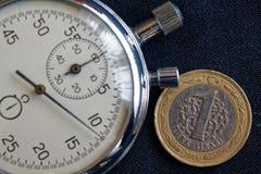 Pièce de monnaie turque avec une dénomination de 1 Lire et chronomètre sur le contexte noir de jeans - fond d'affaires Photographie stock libre de droits