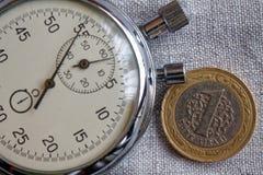 Pièce de monnaie turque avec une dénomination de 1 Lire et chronomètre sur le contexte de toile gris - fond d'affaires Image stock