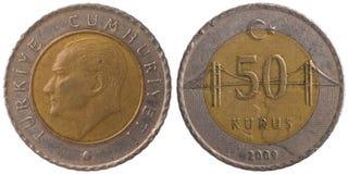 Pièce de monnaie turque du kurus 50, 2009, les deux côtés Photographie stock libre de droits