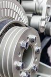 Pièce de moteur de voiture, moteur moderne de véhicule et détails coupés de pièce de moteur de voiture en métal Images libres de droits