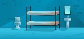 Pièce de prison Intérieur de cellules de prison avec le lit superposé, la cuvette des toilettes, le lavabo et les murs sales cart illustration stock