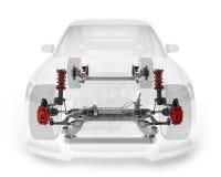 Pièce de rechange transparente de voiture et de suspension illustration stock