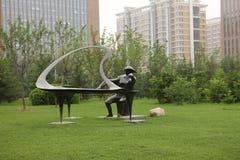 Pièce de sculpture le piano Image stock