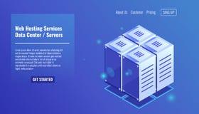 Pièce de serveur, icône isométrique de support, centres serveurs de site Web, vecteur de concept de datacenter Images stock