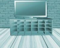Pièce de turquoise avec la TV illustration stock