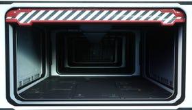 Pièce de vaisseau spatial, couloir Vue futuriste de la terre rendu 3d Images libres de droits