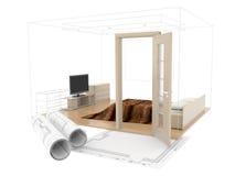 pièce du plan 3D Photos libres de droits