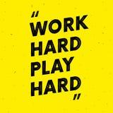 Pièce dure de travail dure Texte de motivation guillemet Effet grunge illustration stock