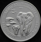 Pièce en argent de la république de Somalie avec l'éléphant Photographie stock