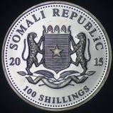 Pièce en argent de la république de Somalie (2015 - face) Photo stock