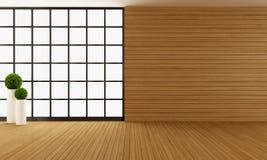 Pièce en bois moderne vide illustration stock