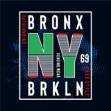 Pièce en t de conception de typographie de New York Brooklyn pour le T-shirt illustration libre de droits