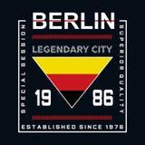 Pièce en t légendaire de conception de typographie de ville de Berlin illustration stock