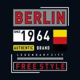 Pièce en t légendaire de conception de typographie de ville de Berlin illustration libre de droits