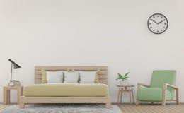 Pièce et fauteuil blancs modernes de lit avec l'image en pastel de rendu des meubles 3d Photo stock