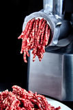Pièce franche étroite de mincing-machine avec l'hachis de fruits secs dedans photos libres de droits