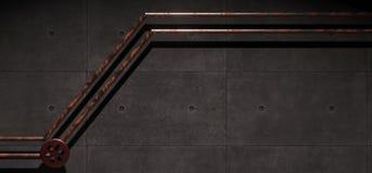 Pièce industrielle concrète réaliste avec les tuyaux rouillés en métal illustration libre de droits