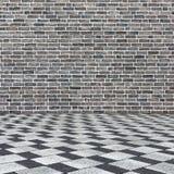 Pièce intérieure avec le mur de briques et le plancher carrelé photos libres de droits