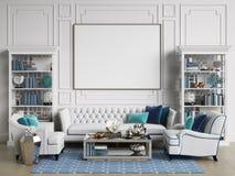Pièce intérieure classique dans des couleurs bleues et blanches avec l'espace de copie illustration libre de droits