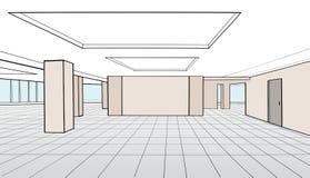 Pièce intérieure de bureau Salle de conférence pour l'inte de l'espace ouvert de bureau illustration libre de droits