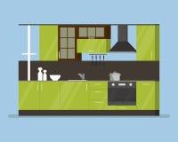 Pièce intérieure moderne de cuisine dans des tons verts Ustensiles et appareils de cuisine Tasses et couteaux de plat de cocotte  illustration stock