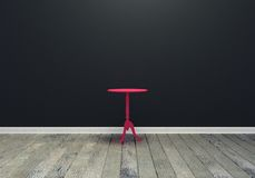 pièce intérieure vide noire, vue de face, plancher en bois, et table de rose Image libre de droits