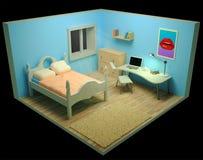 Pièce lumineuse Intérieur de pièce workplace Vue de point de vue 3d rendent illustration de vecteur