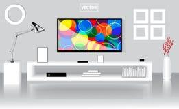 Pièce lumineuse moderne avec le poste TV plat, basse étagère Calibre graphique Photographie stock libre de droits