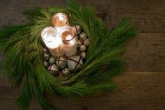 Pièce maîtresse de Tableau de guirlande de Noël de pays photographie stock