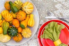 Pièce maîtresse de thanksgiving avec les courges ornementales Image libre de droits